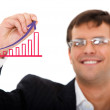 Business man drawing a graph — Stock Photo