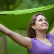 Foto Stock: Girl feeling wind