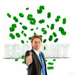 Business man under a money rain — Stock Photo