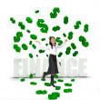 Business woman under a money rain — Stock Photo #7736386