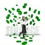 Business woman under a money rain — Stock Photo