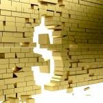 Collapsing wall making a dollar symbol — Stock Photo