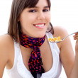 Woman eating breakfast isolated — Stock Photo #7736621