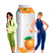 Fit women with a carton of orange juice — Stock Photo