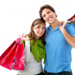 Shopping couple isolated — Stock Photo