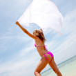 Bikini woman feeling the wind — 图库照片