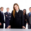 Business woman leading a group — Stock Photo