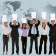Business team with banners — Stock Photo