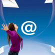 Woman with flying envelopes — Stockfoto