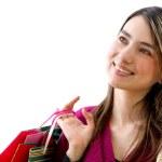 Shopping woman thinking — Stock Photo #7737448