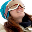 Woman with ski goggles — Stockfoto