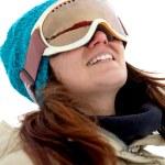 Woman with ski goggles — Stock Photo