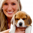 Royalty-Free Stock Photo: Woman with a puppy