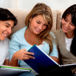 Group of students smiling — Stock Photo