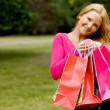 Girl with shopping bags — 图库照片