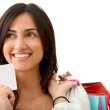 Stock Photo: Shopping woman with credit card