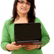 Woman with a laptop — Stock Photo