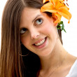 Woman with a flower - Foto Stock