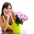 Girl with some flowers — Stock Photo