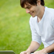 Royalty-Free Stock Photo: Man with a laptop outdoors