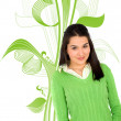 Green girl - Stock Photo