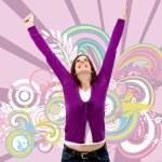 Happy woman full of success — Stock Photo