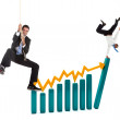 Business over a graphic — Stock Photo