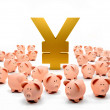 Stock Photo: Piggybanks around yen symbol