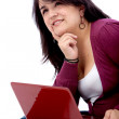 Female student on a laptop — Stock Photo
