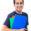Student with folders and notebooks — Stock Photo