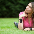 Thoughtful woman outdoors — Stock Photo