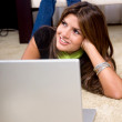 Stock Photo: Beautiful woman with laptop