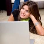 Beautiful woman with laptop — Stock Photo