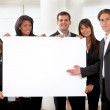 Business group with a banner — Stock Photo
