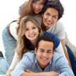Human pyramid smiling - Stock Photo