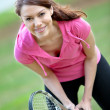 Womplaying tennis — Stock Photo #7739254