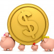 Stock Photo: Piggybank family with a coin