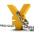 Stock Photo: Yen symbol chained
