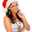 Woman with Santa hat — Stock Photo #7739302