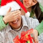 Surprise Christmas gift — Stock Photo
