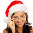 Christmas woman isolated — Stock Photo
