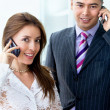 Business couple on the phone — Stock Photo