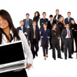 Business woman with team - Stock Photo