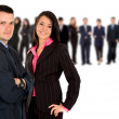Business couple with team - Stock Photo