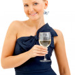 Woman in a cocktail dress - Stock Photo