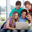 Group of friends with a laptop - Stock Photo