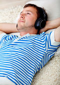 Relaxed man listening to music — Stock Photo