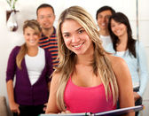 Group of students indoors — Stock Photo