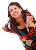 Woman portrait with thumbs-up — Stock Photo