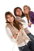 Girls pulling a rope — Stock Photo